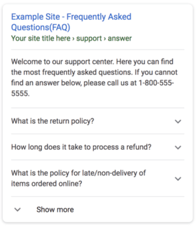 Google limits FAQ rich results to a maximum of two per snippet
